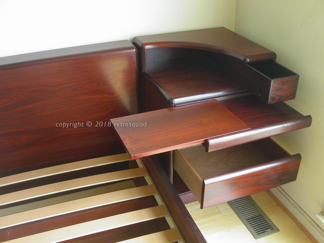 KING Size Brazilian Rosewood Platform Bed With Nightstands + UNDER-BED STORAGE  by Brouer of Denmark