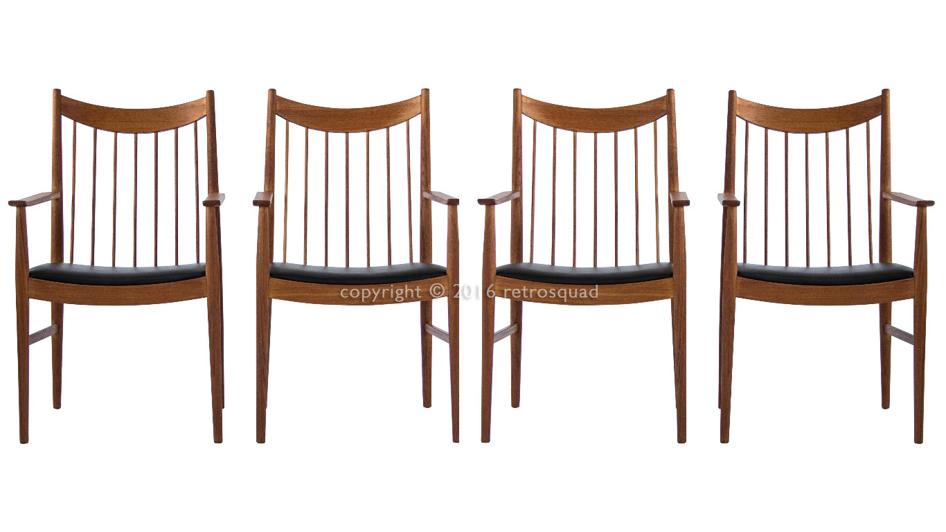 Teak Captains Dining Chairs Designed By Arne Vodder For Sibast, Model 422 01